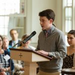 Blaise Siefer delivering his faith statement to congregation during 2016 Confirmation Sunday