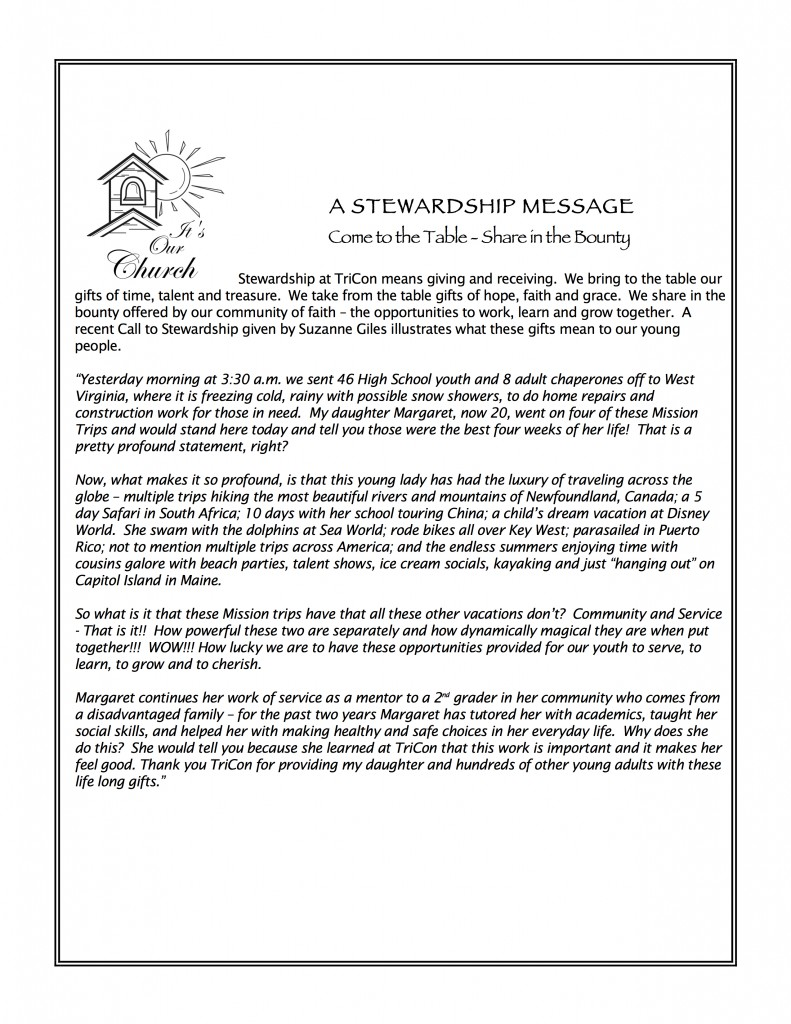 Stewardship Message by Suzanne Giles re 2016 Mission Trip #2