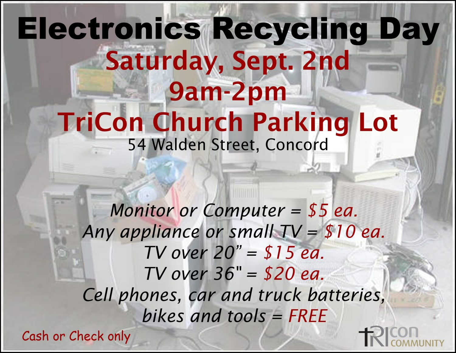 Electronics/Appliances/Bicycle Recycling Day – Trinitarian
